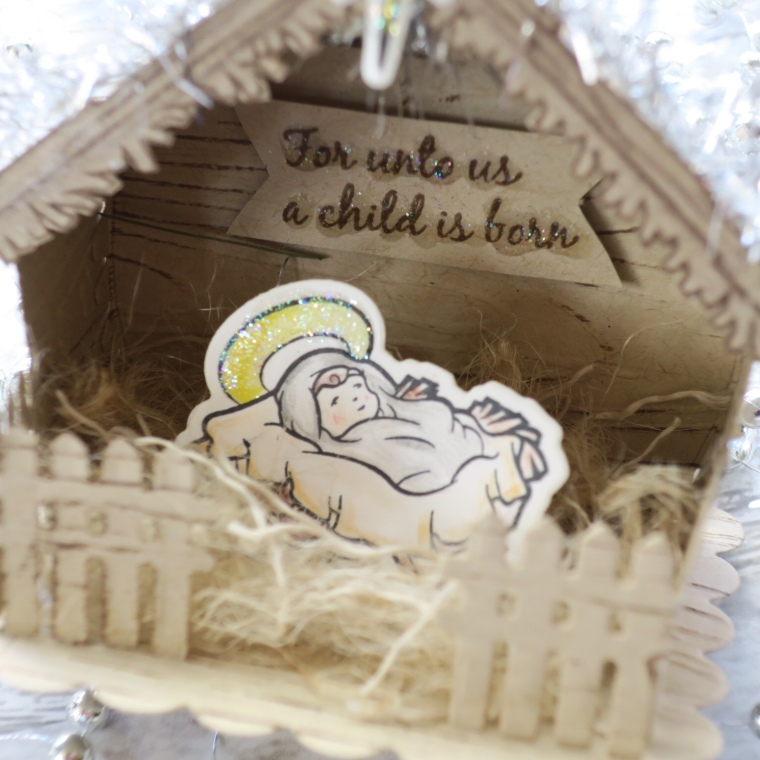 FSJ Baby Jesus Stable, DYI 3D Project, Fun stampers Journey, Spellbinders Build a House Die, Christmas Craft