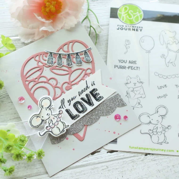 FSJ, Fun Stampers Journey, Spellbinders, Follow your Heart, Valentine's Stamps, Die Cuts, Valentine's Pal