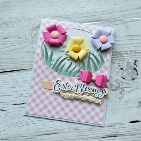 Easter Card, Easter Blessing, Fun Stampers Journey, Baby Bow Die, Easter Blessing, die cut, paper craft, Spellbinders, Creative Design Team