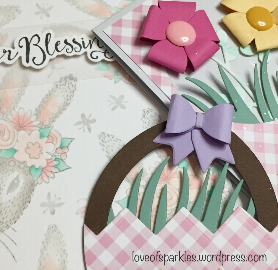 Fun Stampers Journey, Spellbinders, Stamps, Dies, Easter Blessing, baby bow, bunny, Miss Whisker